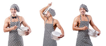 The sexy male cook isolated on the white Stock Photo