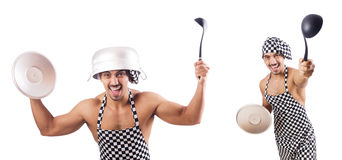 The sexy male cook isolated on the white Stock Image