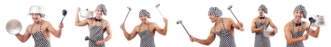 The sexy male cook isolated on the white Stock Photos