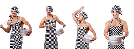 Sexy male cook isolated on the white Stock Photo