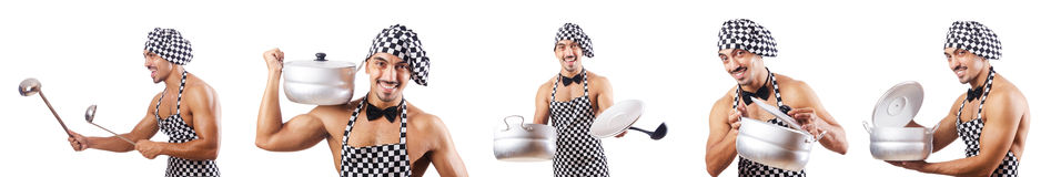 The sexy male cook isolated on the white Royalty Free Stock Images