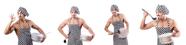 The sexy male cook isolated on the white Stock Images