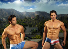 Male fit twins. Portrait of male fitness model twins outdoors Stock Photo