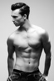 Sexy Male Model Posing Without Shirt Stock Photos