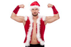 Sexy male posing in xmas costume, isolated on Stock Photography
