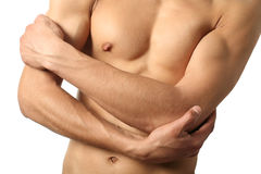 Sexy Male Torso. Isolated on white Royalty Free Stock Photo