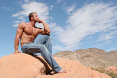 man in blue jeans royalty free stock photo