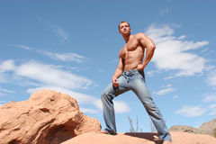 Sexy man in blue jeans Royalty Free Stock Photography