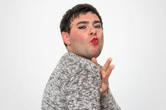 man dressed as woman - transsexual concept royalty free stock photos