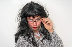 man dressed as woman - transsexual concept stock photo