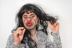 man dressed as woman - transsexual concept stock photography