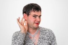 man dressed as woman - transsexual concept royalty free stock images