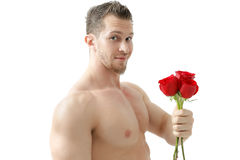 Sexy man gives a rose on a white background with a beautiful light. Isolated on white background Stock Photography