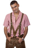man with Oktoberfest leather trousers Stock Photos