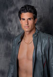 Sexy Man in Open Leather Jacket Royalty Free Stock Photography