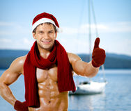 Sexy man Santa Claus Stock Images