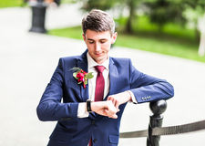 man in tuxedo and  tie posing Stock Images