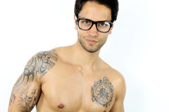 Sexy man wearing glasses Stock Image