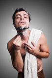 Sexy man who shaves his beard Royalty Free Stock Images