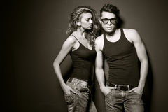 Sexy man and woman doing a fashion photo shoot Stock Photography
