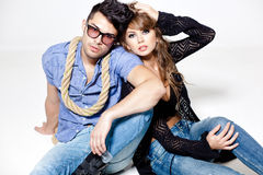 man and woman doing a fashion photo shoot Royalty Free Stock Images