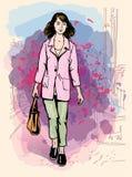 Sexy maniermeisje in schetsstijl op een stad-achtergrond Vector illustratoin Stock Fotografie