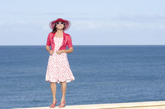 Mature lady  ocean background Stock Photos