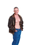 Sexy mature man bare chest Royalty Free Stock Image