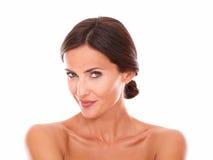 Sexy mature woman smiling at camera Stock Photos