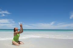 Mature Woman at Tropical Beach Royalty Free Stock Photos