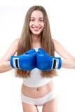 Sexy Mädchenverpacken in den Handschuhen Lizenzfreie Stockfotografie