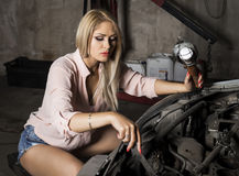 Sexy mechanic Royalty Free Stock Photography