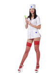 Sexy medic woman with syringe. isolated. Stock Photos