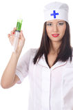 Sexy medic woman with syringe. isolated. Royalty Free Stock Photography