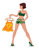 Sexy meisje in camouflagekleren Royalty-vrije Stock Afbeelding