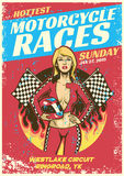Sexy meisje in de gebeurtenisaffiche van het motorfietsras in grunge geweven varkenskot Royalty-vrije Stock Fotografie