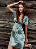 Sexy meisje in groene zijdekleding op een achtergrond van een houten muur royalty-vrije stock fotografie