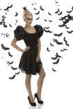 Sexy meisje in Halloween kostuum met hand op de heup Stock Afbeelding