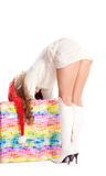 Sexy meisje in Hoed Canta met een gift stock afbeelding