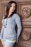 Sexy meisje met bruine haarmannequin Stock Afbeelding