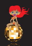 Sexy meisje met discobal Stock Afbeelding