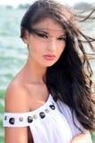 Sexy meisje met haar in de wind. royalty-vrije stock foto's