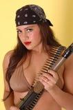 Sexy Meisje met kanon Stock Foto's