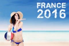 Sexy meisje met tekst van Frankrijk 2016 Stock Foto