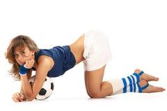 Sexy meisje met voetbalbal Stock Fotografie