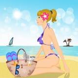 Sexy Meisje op het Strand stock illustratie