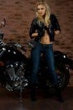 Sexy meisje op motor Stock Fotografie