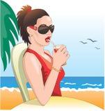 Sexy meisje, zonnebril op strand Stock Foto
