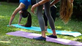 Sexy meisjes die yoga in openlucht chakrasana doen stock footage