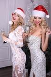 Sexy meisjes in Kerstmanhoed en luxueuze kleding, het drinken champagne stock foto's
